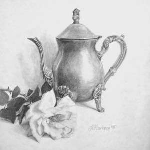 """A teapot and a rose"" <span style=""font-size:30px; color: #c30000;"">•</span>"