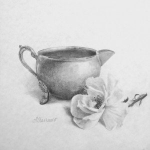 """A creamer and a rose""<span style=""font-size:30px; color: #c30000;"">•</span>"